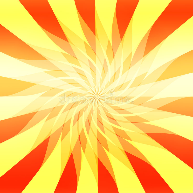 Vector Sunshine Abstract. Bright and vivid orange and yellow wavy sunshiny rays in this swirling abstract background. Vector also stock illustration