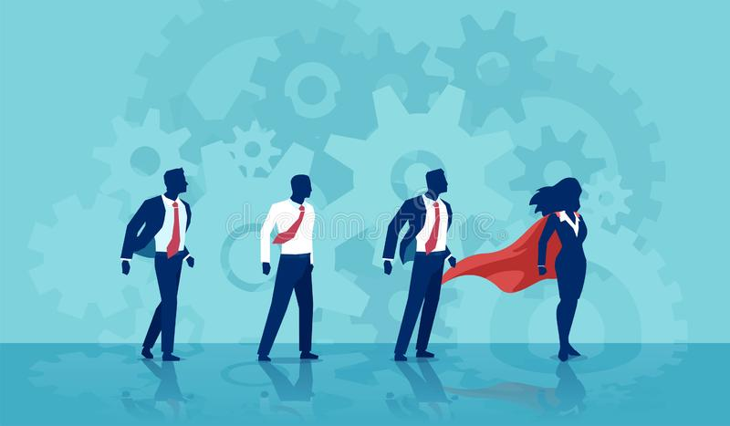 Vector of a super hero businesswoman leader and her team of businessmen stock illustration