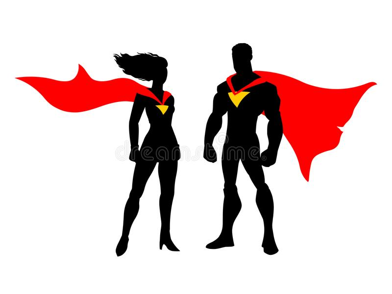 Super hero couples.Vector super hero couple isolated on white background. Vector super heroes.Cartoon Super hero couples silhouette stock illustration