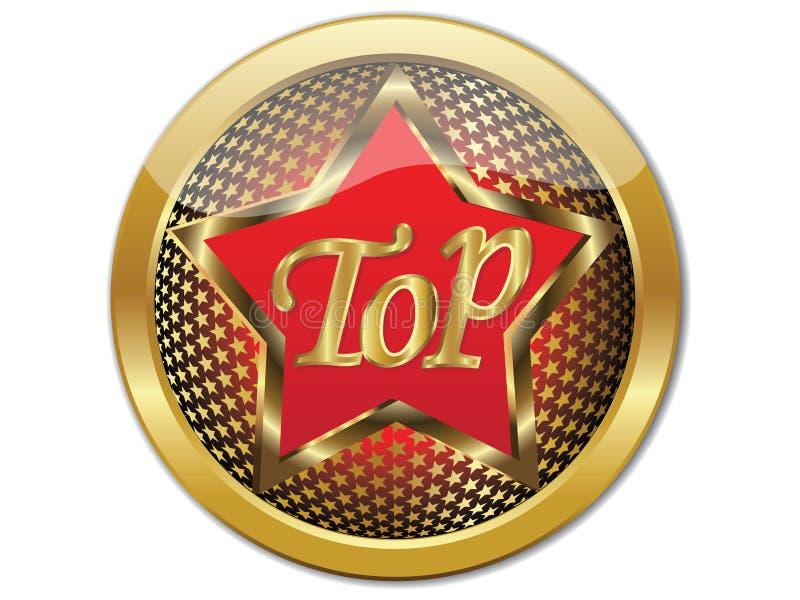 Vector superior de oro EPS 10 del botón stock de ilustración