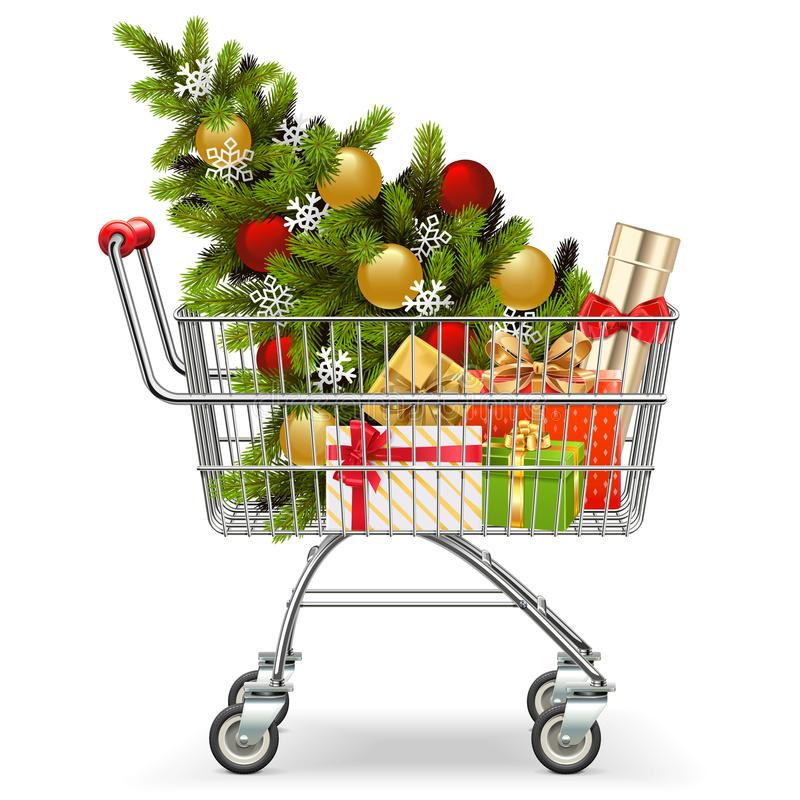 Vector Supermarket Cart with Christmas Tree. Isolated on white background vector illustration