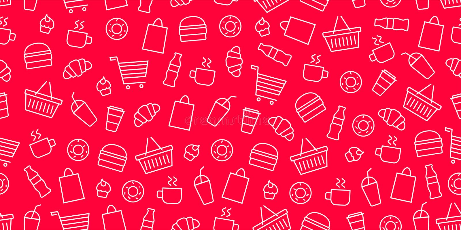 Vector supermarket shop fast food pattern. Food and goods seamless red background stock illustration