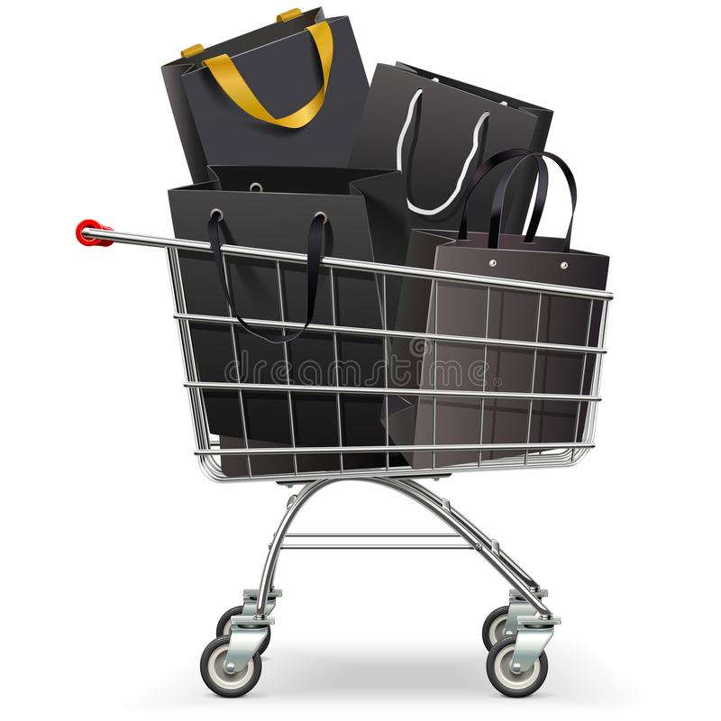Vector Supermarket Trolley with Black Shopping Bags royalty free stock photo