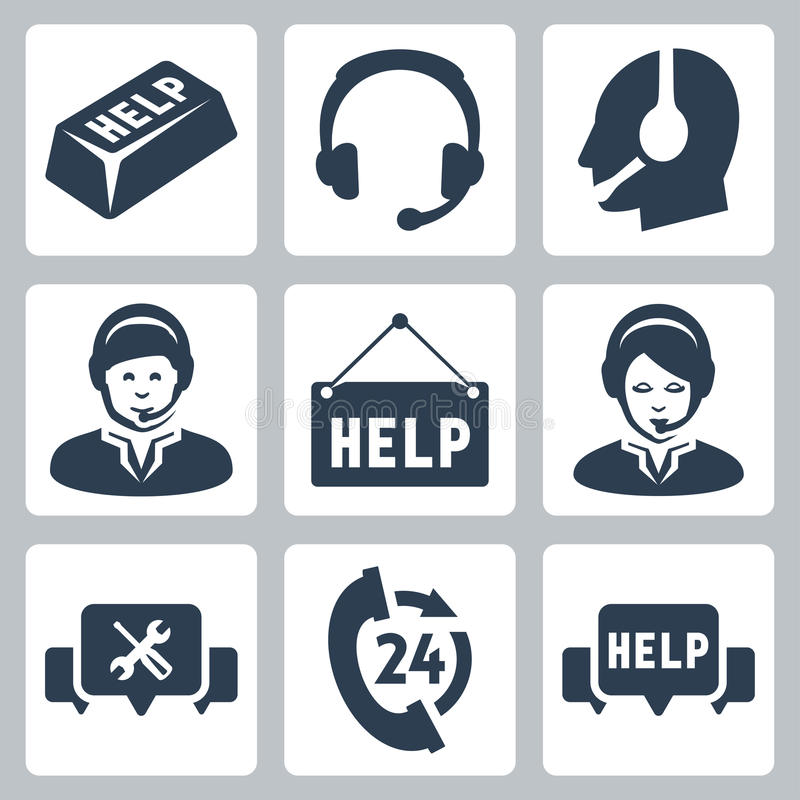 Vector support, call center icons stock illustration