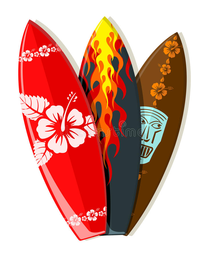 Vector surf boards. With Hawaiian patterns