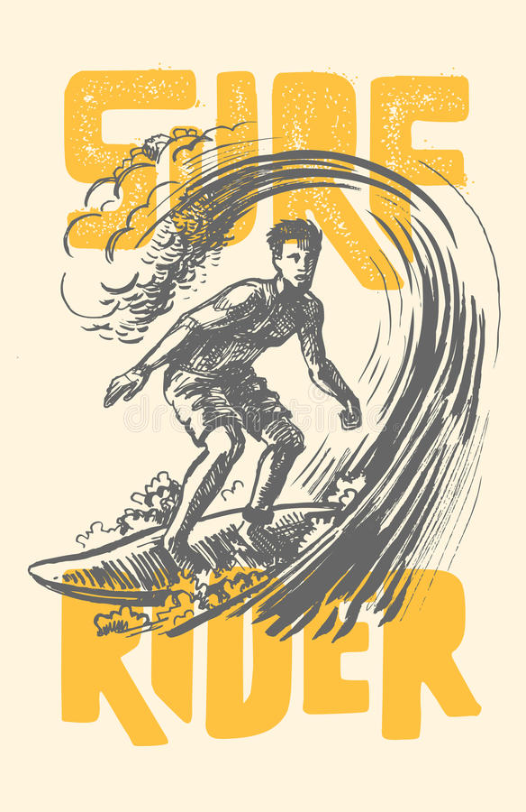 Vector surf man. Vector surf man T-shirt pattern Surfing emblem royalty free illustration