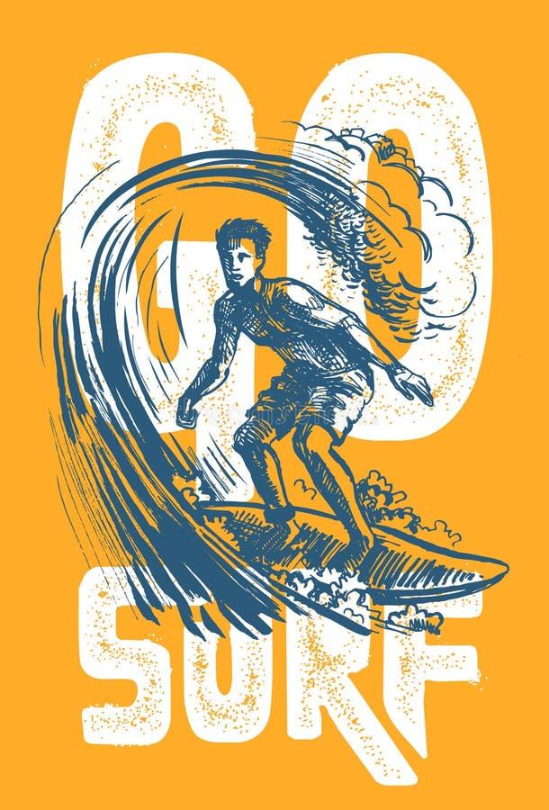 Vector surf man. Vector surf man T-shirt pattern Surfing emblem vector illustration