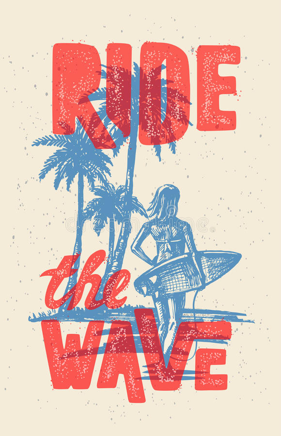 Vector surf woman. Vector surf woman T-shirt pattern Surfing emblem royalty free illustration