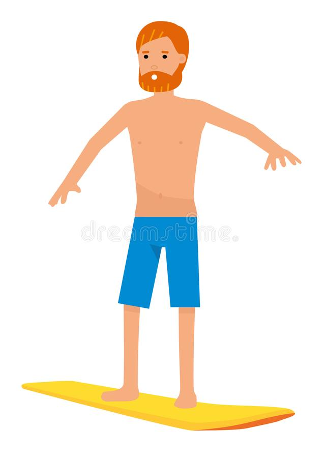 Vector surfer character in surf trunks with surfboard, isolated on white background. stock illustration