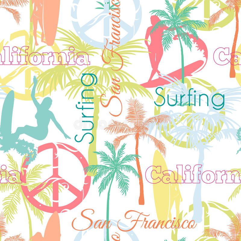 Free Vector Surfing California San Francisco Colorful Seamless Pattern Surface Design With Active Women, Palm Trees, Peace Stock Photo - 66372350