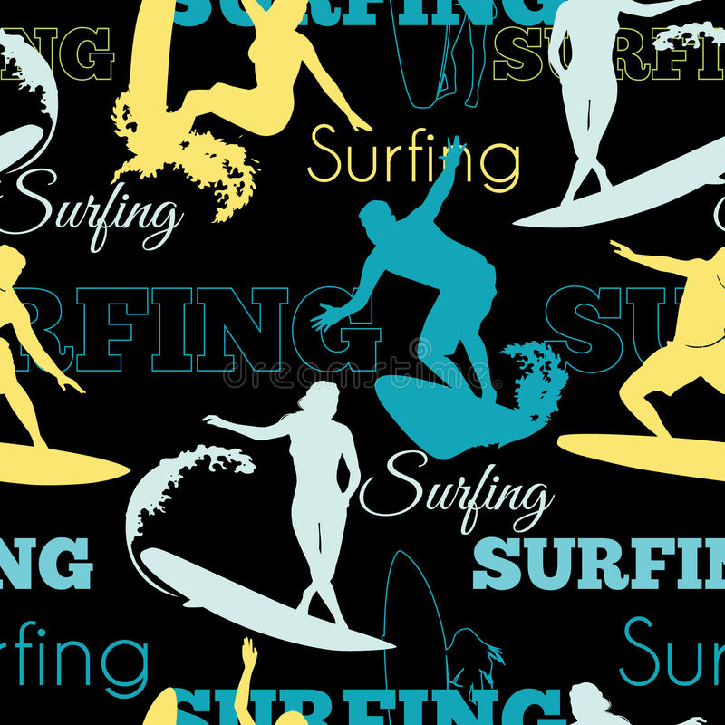 Vector Surfing People California Blue Yellow Black Seamless Pattern Surface Design With Men, Women On Surf Boards. vector illustration