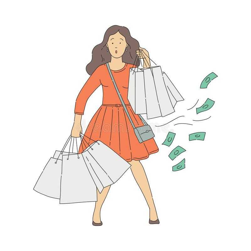 Vector sketch woman shopaholic with shop addiction royalty free illustration