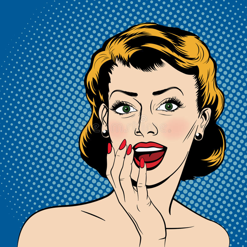 Vector surprised woman in the pop art comics style royalty free stock image