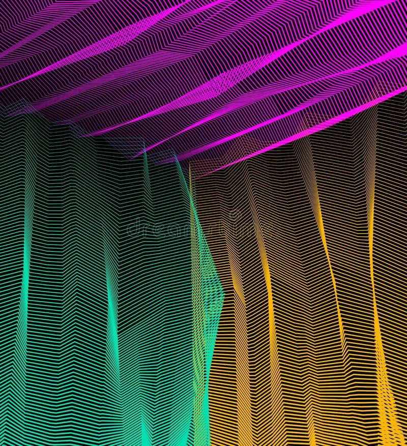 Vector surreal illusiekunst voor ontwerp, 3d dimensionaal van de lijnkunst stock illustratie