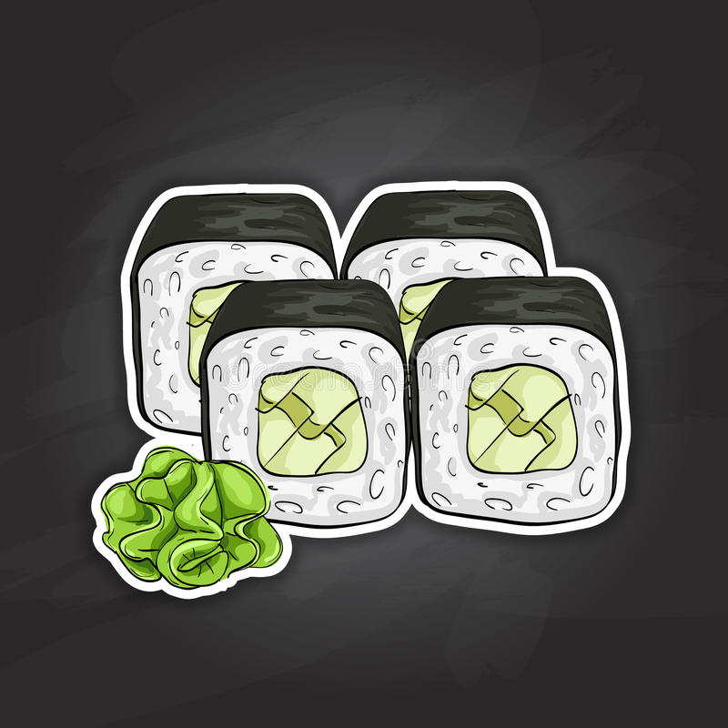 Vector sushi color sketch, Avocado roll. Japanese cuisine, traditional food icon. Perfect vector illustration stock illustration