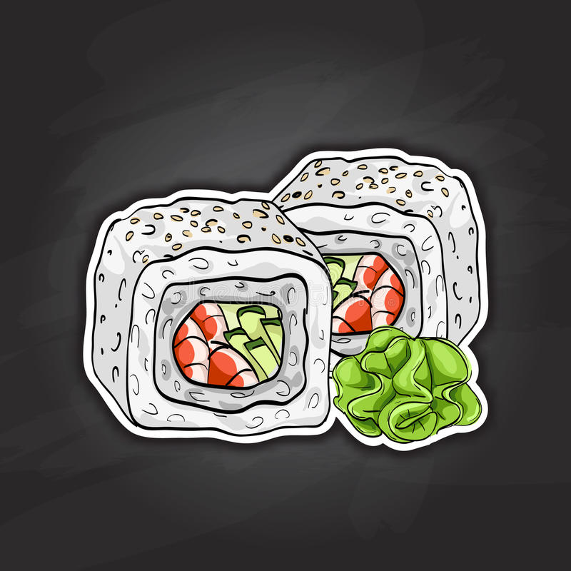 Vector sushi color sketch, Boston roll. Japanese cuisine, traditional food icon. Perfect vector illustration stock illustration