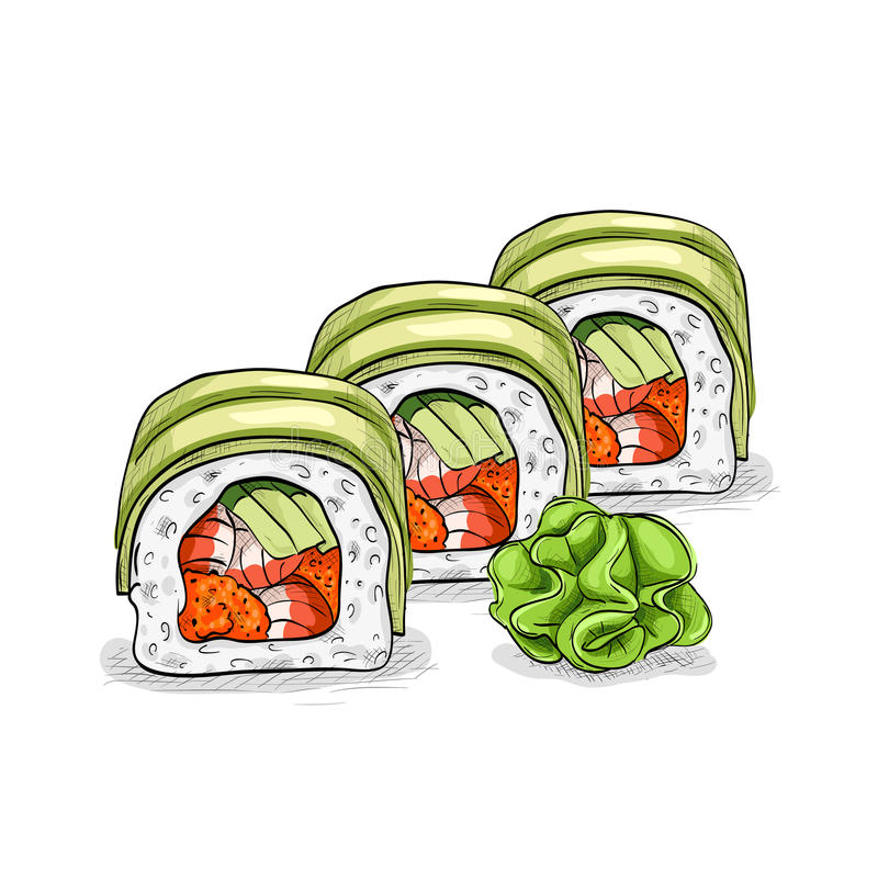 Vector sushi color sketch, Dragon roll. Japanese cuisine, traditional food icon. Perfect vector illustration stock illustration