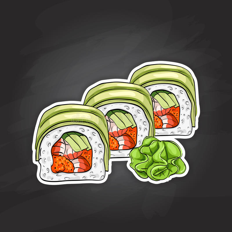 Vector sushi color sketch, Dragon roll. Japanese cuisine, traditional food icon. Perfect vector illustration vector illustration