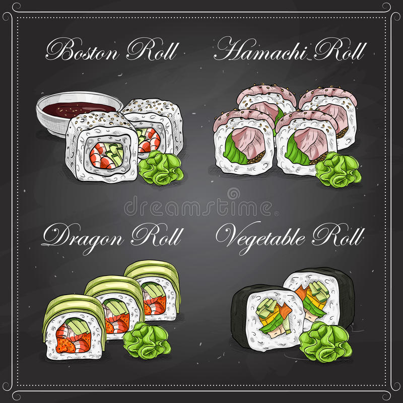 Vector sushi color sketch, set. Vector Sushi sketch and color, set of four types of sushi on a blackboard vector illustration