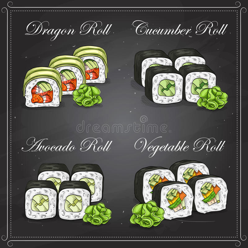 Vector sushi color sketch, set. Vector Sushi sketch and color, set of four types of sushi on a blackboard stock illustration