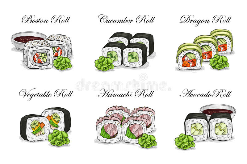 Vector sushi color sketch, set. Japanese cuisine, traditional food icon. Perfect vector illustration stock illustration