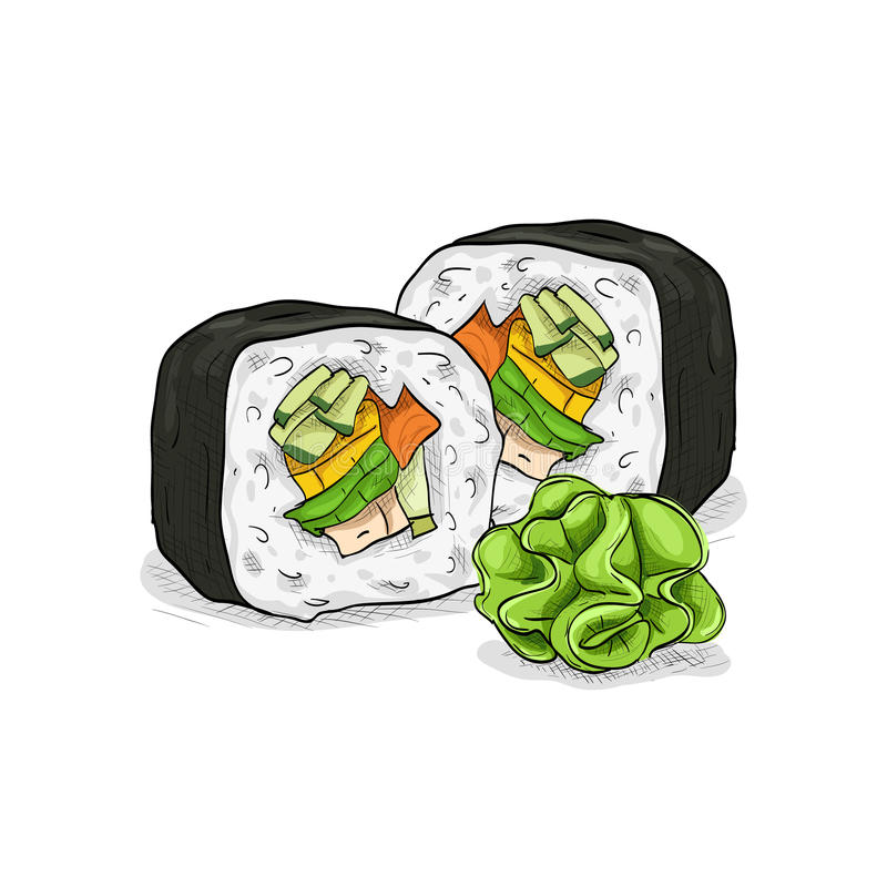 Vector sushi color sketch, Vegetable roll. Japanese cuisine, traditional food icon. Perfect vector illustration vector illustration