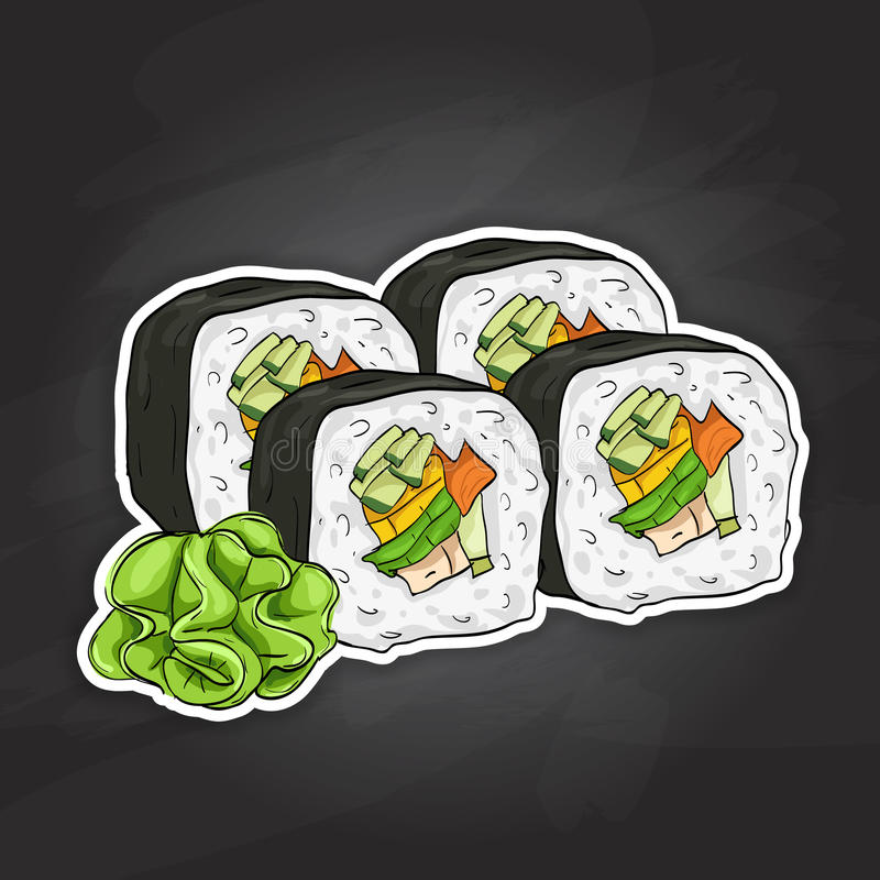 Vector sushi color sketch, Vegetable roll. Japanese cuisine, traditional food icon. Perfect vector illustration royalty free illustration