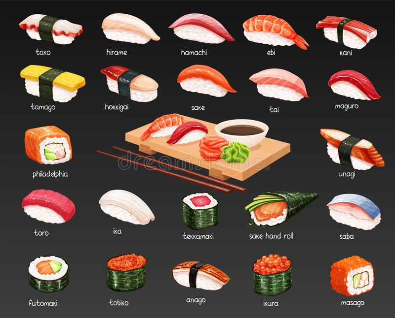 Vector sushi set. Vector sushi icons set. Japanese food illustration for seafood sushi rolls shop design royalty free illustration