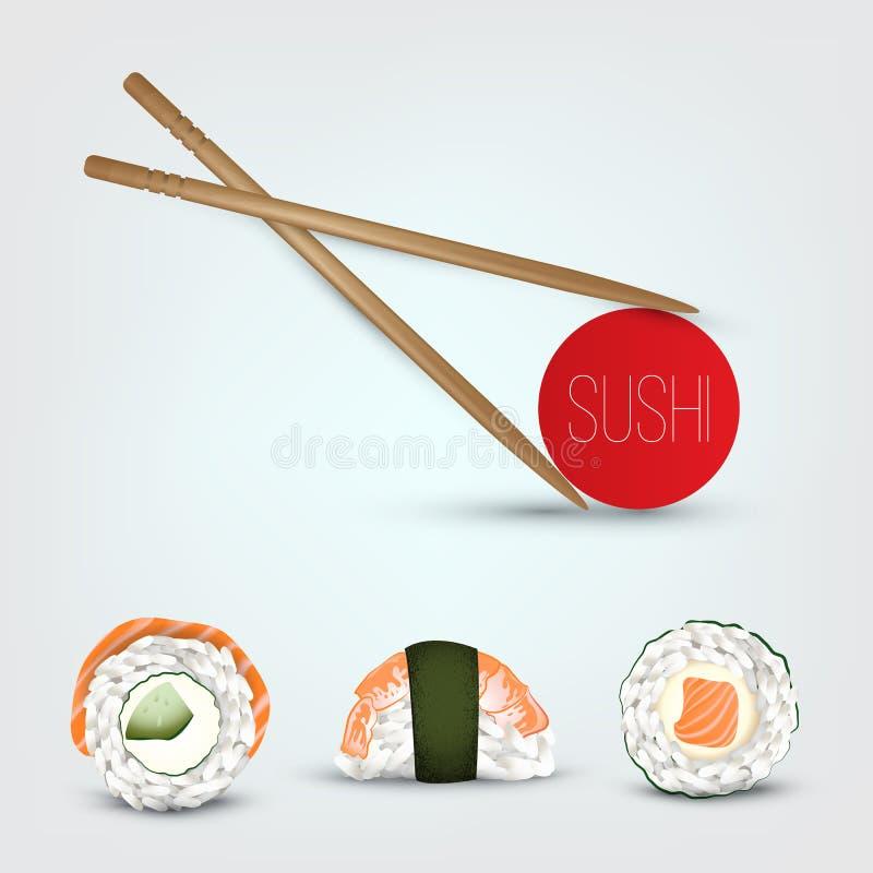Vector Sushi set. Realistic icon. stock illustration
