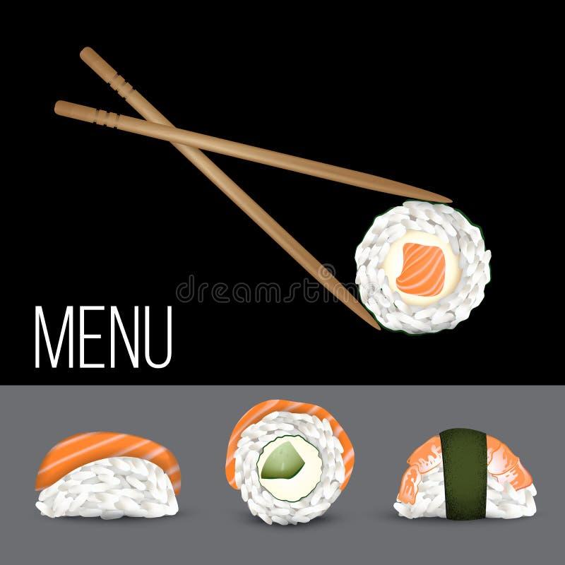 Vector Sushi set. Realistic icon. Concept for restaurant menu design royalty free illustration