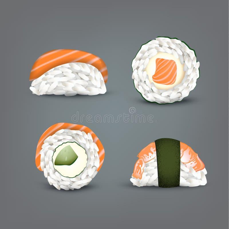 Vector Sushi set. Realistic icon. royalty free illustration