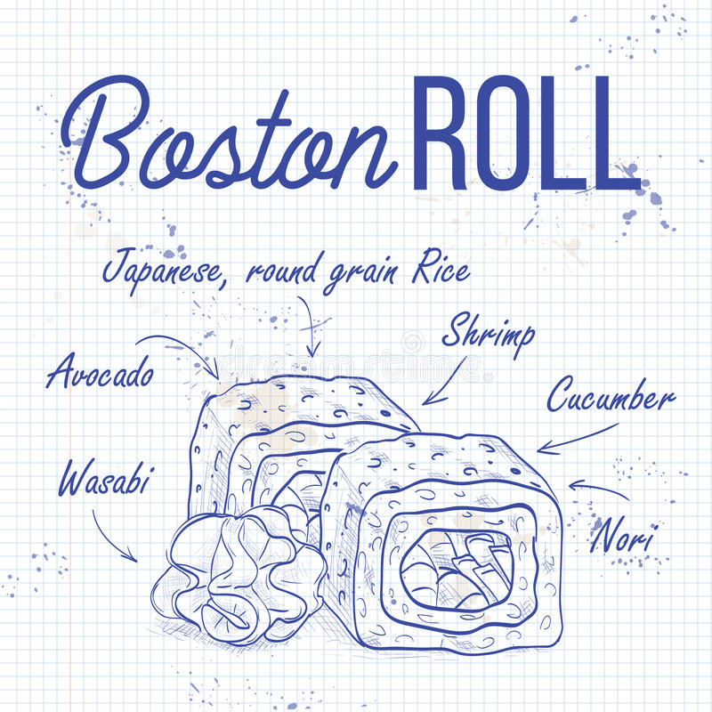 Vector sushi sketch, Boston roll. Vector sushi roll sketch, Boston Roll recipe on a notebook page royalty free illustration