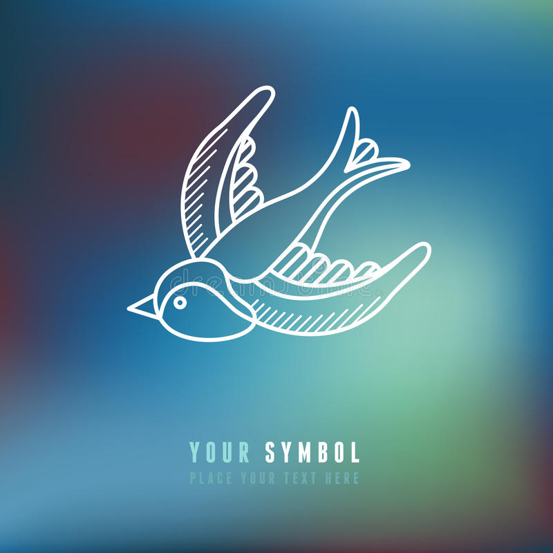 Vector swallow illustration in outline style royalty free illustration