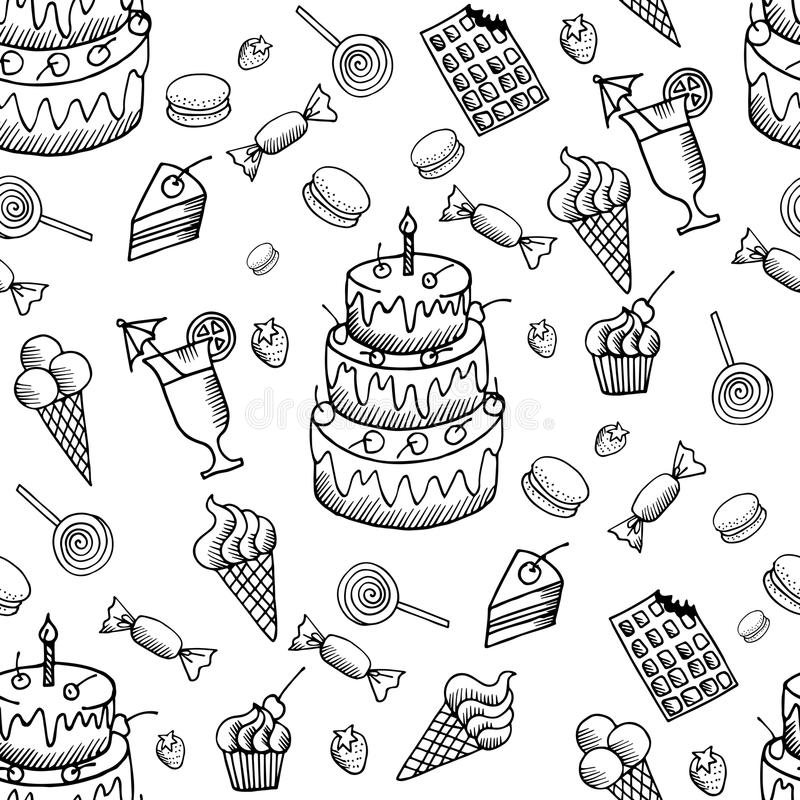 Vector sweets pattern with hand drawn doodle desserts set. Hand drawn doodle desserts sseamless pattern. Vector doodle sweets illustrations vector illustration
