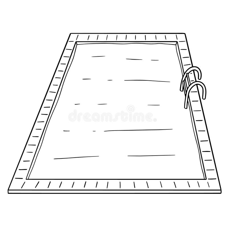 Vector of swimming pool. Hand drawn cartoon, doodle illustration royalty free illustration