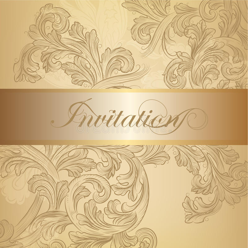Vector swirl invitation card in golden color stock vector download vector swirl invitation card in golden color stock vector illustration of curl frame stopboris Image collections