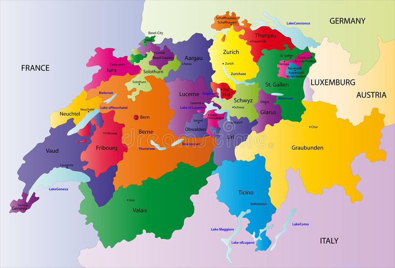 Vector Switzerland Map Royalty Free Stock Photography