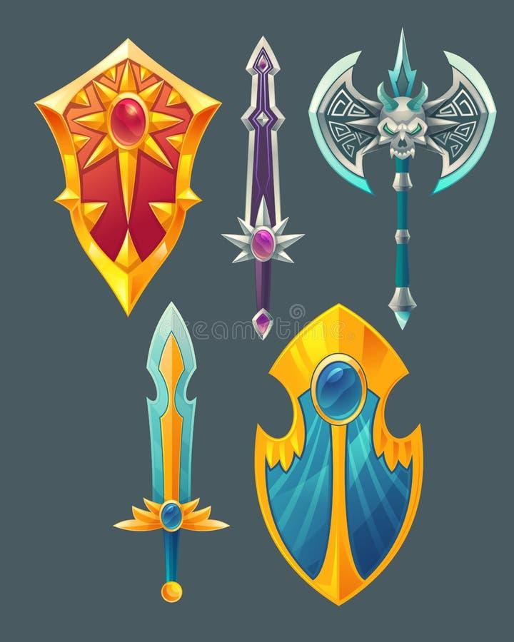 Vector swords, shields, axe for fantasy game vector illustration