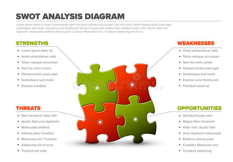 Vector SWOT illustration made from puzzle pieces stock illustration
