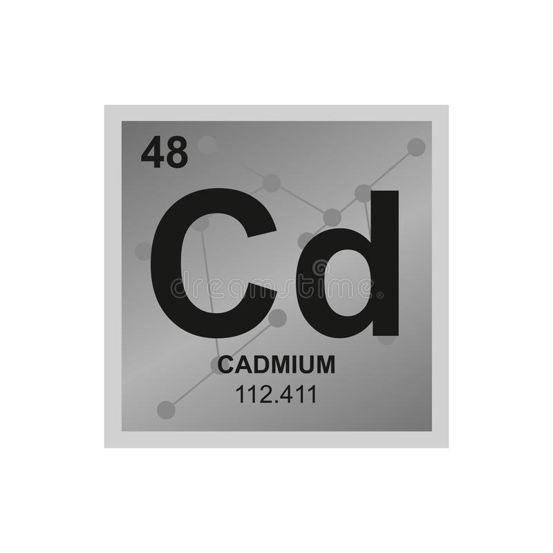 Vector symbol of cadmium on the background from connected molecules vector illustration