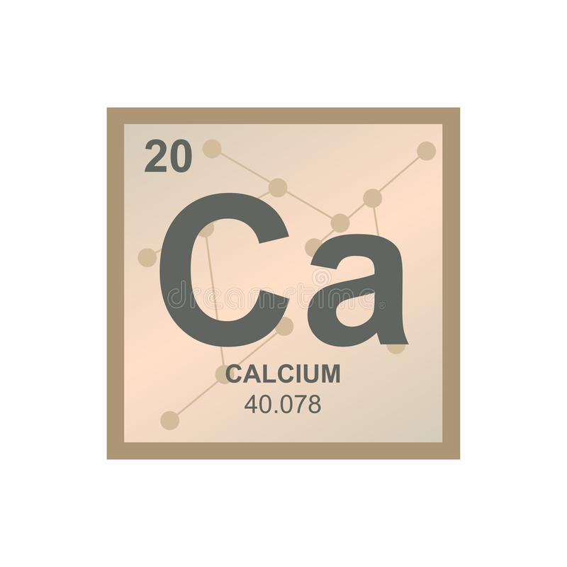 Vector symbol of calcium on the background from connected molecules vector illustration