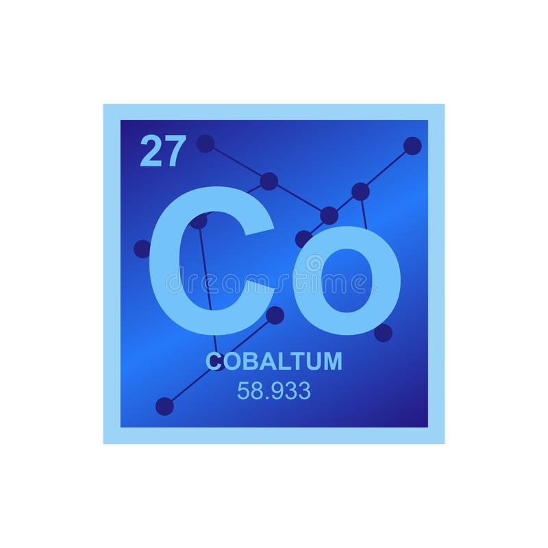 Vector symbol of cobalt on the background from connected molecules royalty free illustration