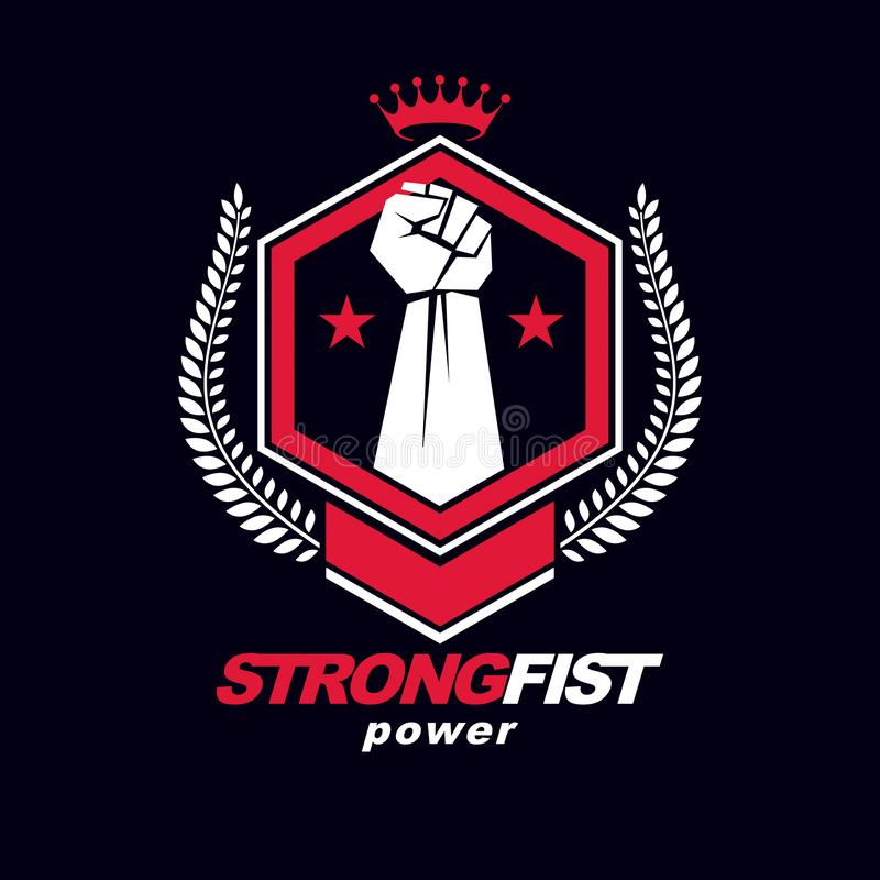 Vector symbol created using raised fist of a muscular man, laurel wreath and royal crown. Fighter club conceptual logo. vector illustration