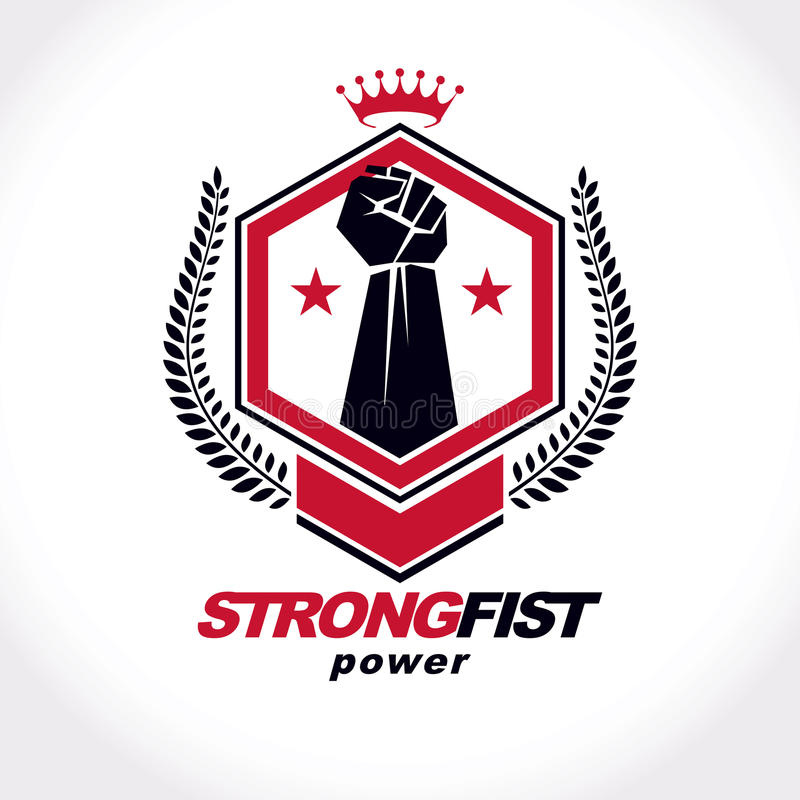 Vector symbol created using raised fist of a muscular man, laurel wreath and royal crown. Fighter club conceptual logo. stock illustration