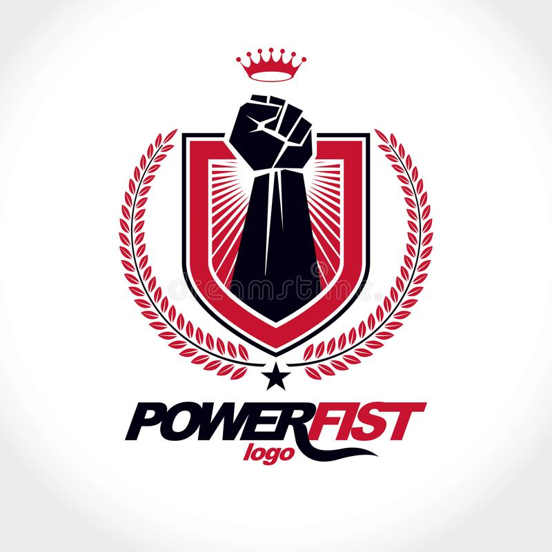Vector symbol created using raised fist of a muscular man, laurel wreath and royal crown. Fighter club conceptual logo. royalty free illustration