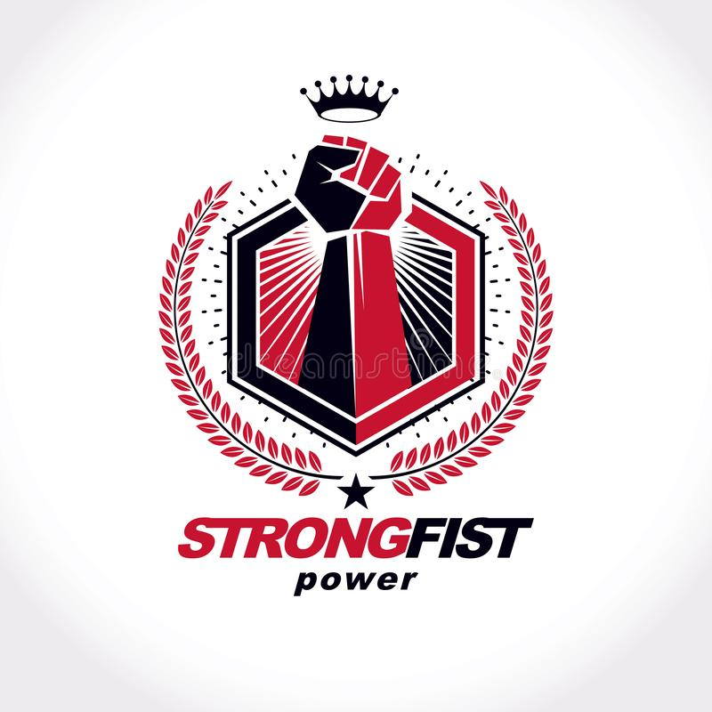 Vector symbol created using raised fist of a muscular man, laurel wreath and royal crown. Fighter club conceptual logo vector illustration