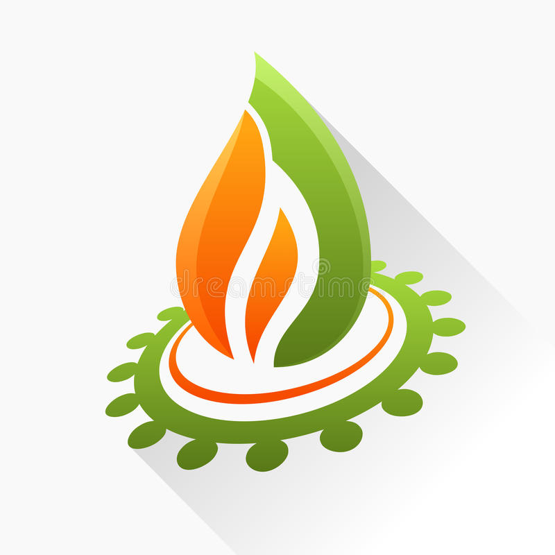 Vector symbol fire with gear. Orange and green flame glass icon stock illustration
