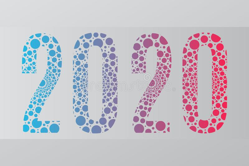 2020 vector symbol. Happy New Year illustration for decoration, celebration, winter holiday. Blue red gradient bubble icon stock illustration