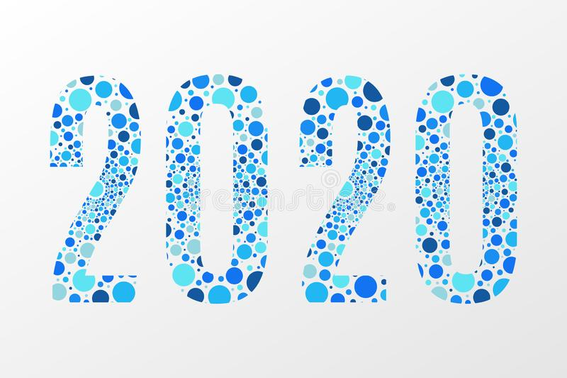 2020 vector symbol. Happy New Year illustration for decoration, celebration, winter holiday, infographic, business, calendar royalty free stock photos
