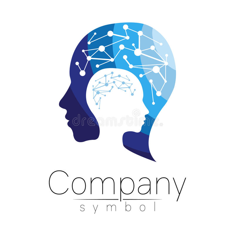 Vector symbol of human head. Profile face. Blue color isolated on white background. Concept sign for business, science royalty free illustration
